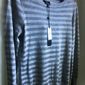 NWT Talbots Sweater-Grey Shimmer Stripe